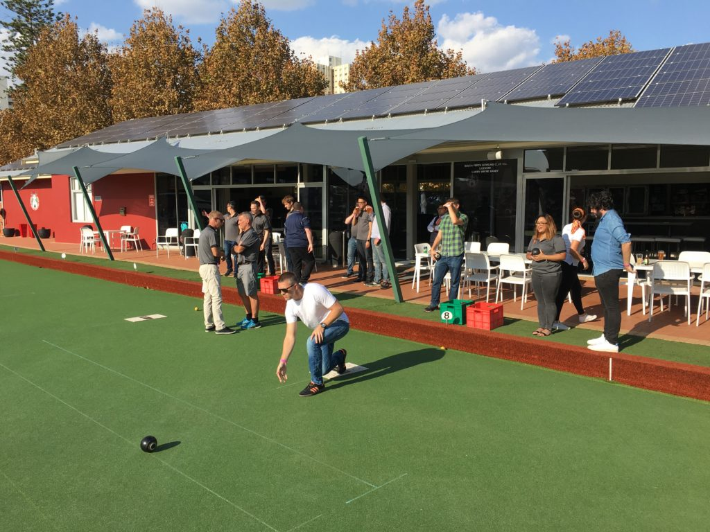 bowling club staff event green grass lawn bowls
