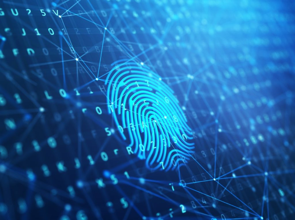 blue technology thumbprint security