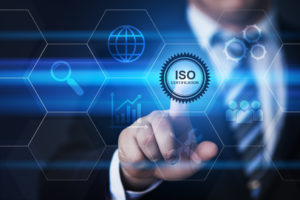 businessman with ISO certification blue and black background