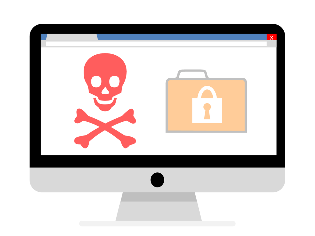 apple computer with skull and locked files for ransomware